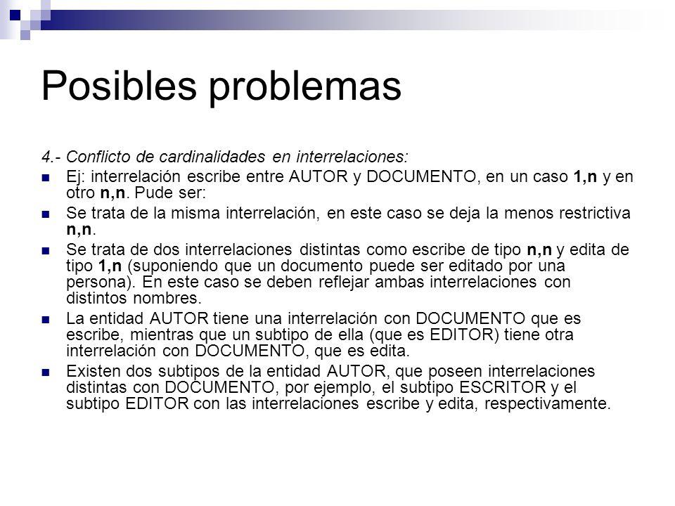 Posibles problemas 4.- Conflicto de cardinalidades en interrelaciones: