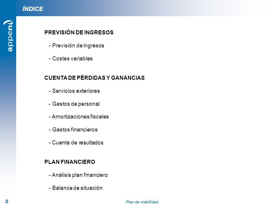 ÍNDICE PREVISIÓN DE INGRESOS - Previsión de ingresos