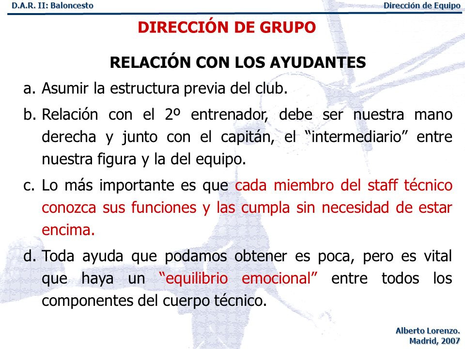 RELACIÓN CON LOS AYUDANTES