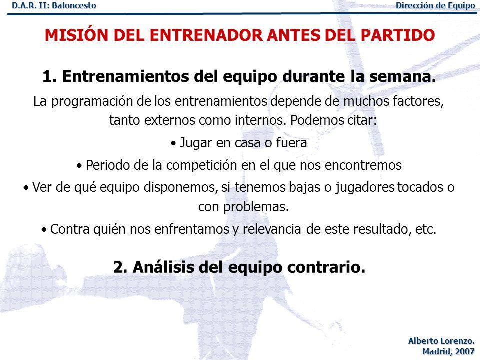 MISIÓN DEL ENTRENADOR ANTES DEL PARTIDO