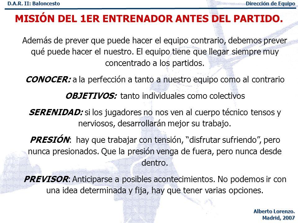 MISIÓN DEL 1ER ENTRENADOR ANTES DEL PARTIDO.