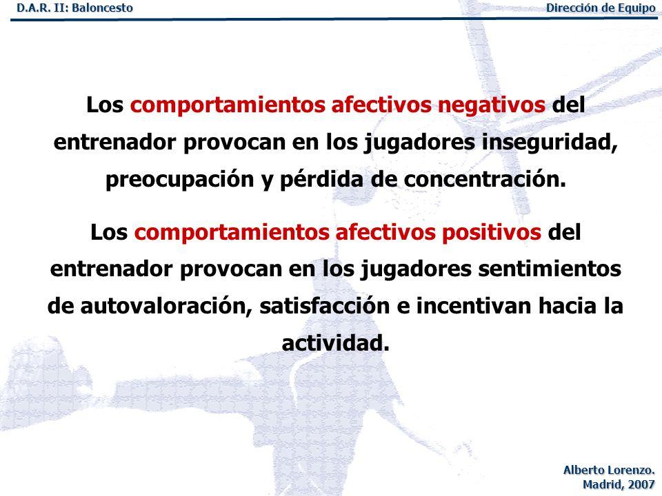 Los comportamientos afectivos negativos del entrenador provocan en los jugadores inseguridad, preocupación y pérdida de concentración.