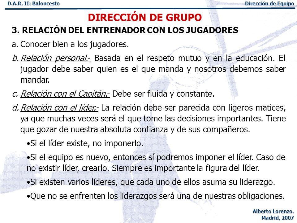 DIRECCIÓN DE GRUPO 3. RELACIÓN DEL ENTRENADOR CON LOS JUGADORES
