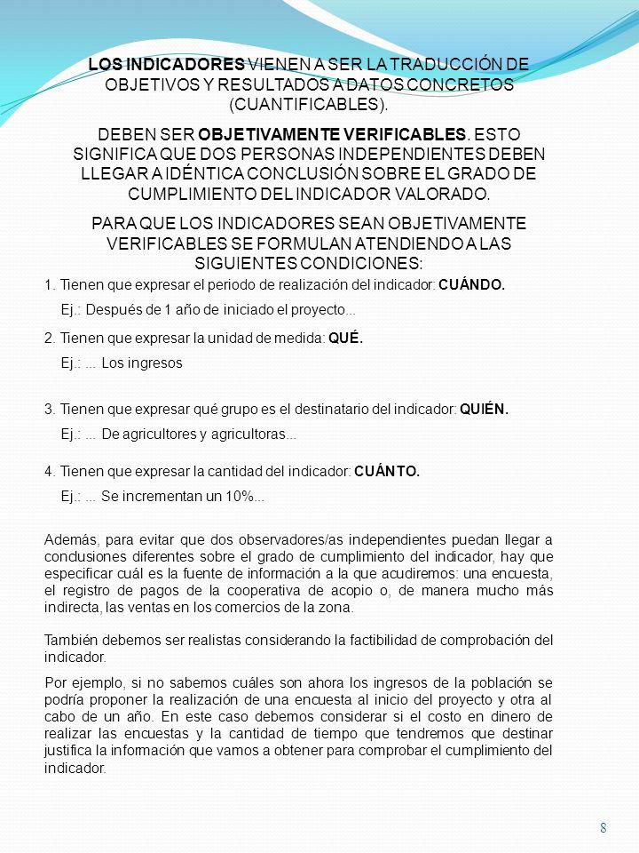LOS INDICADORES VIENEN A SER LA TRADUCCIÓN DE OBJETIVOS Y RESULTADOS A DATOS CONCRETOS (CUANTIFICABLES).