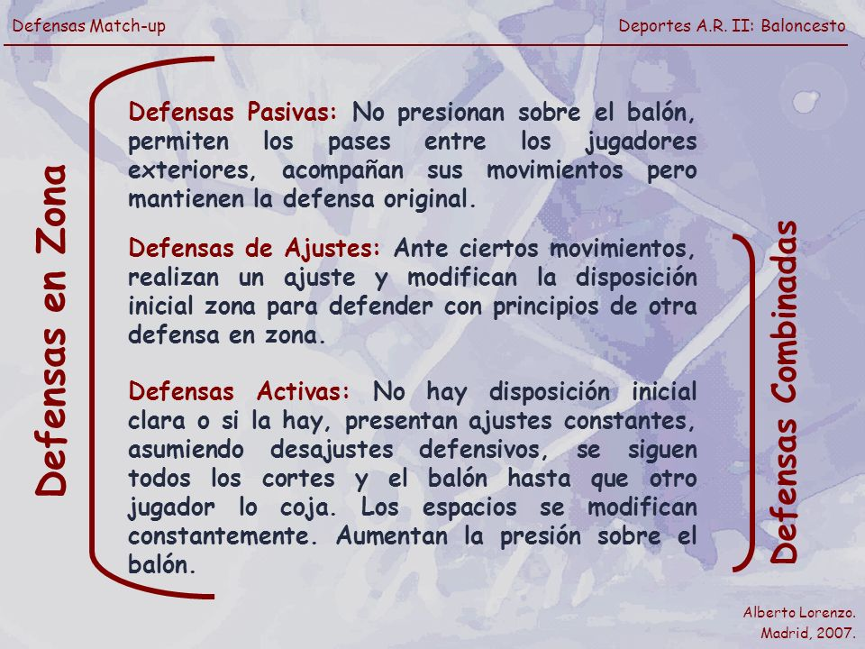 Defensas en Zona Defensas Combinadas