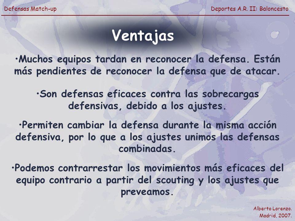 Ventajas Muchos equipos tardan en reconocer la defensa. Están más pendientes de reconocer la defensa que de atacar.