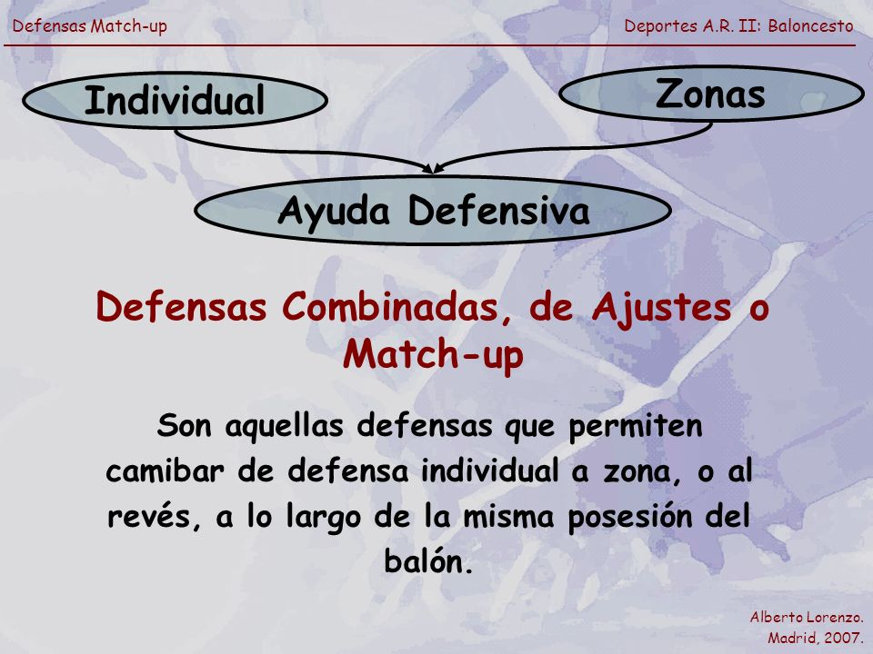 Defensas Combinadas, de Ajustes o Match-up