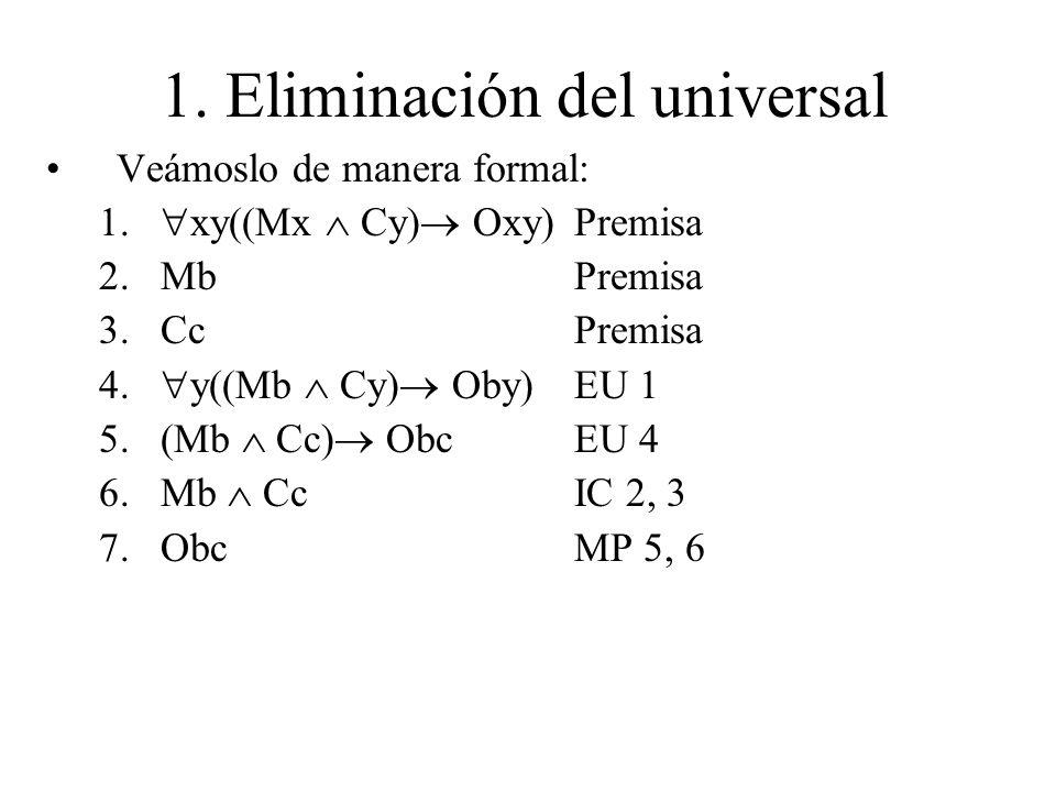 1. Eliminación del universal