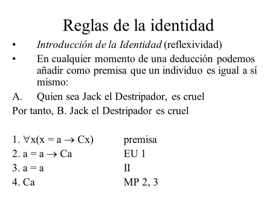 Reglas de la identidad Introducción de la Identidad (reflexividad)