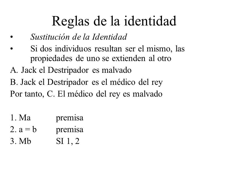 Reglas de la identidad Sustitución de la Identidad