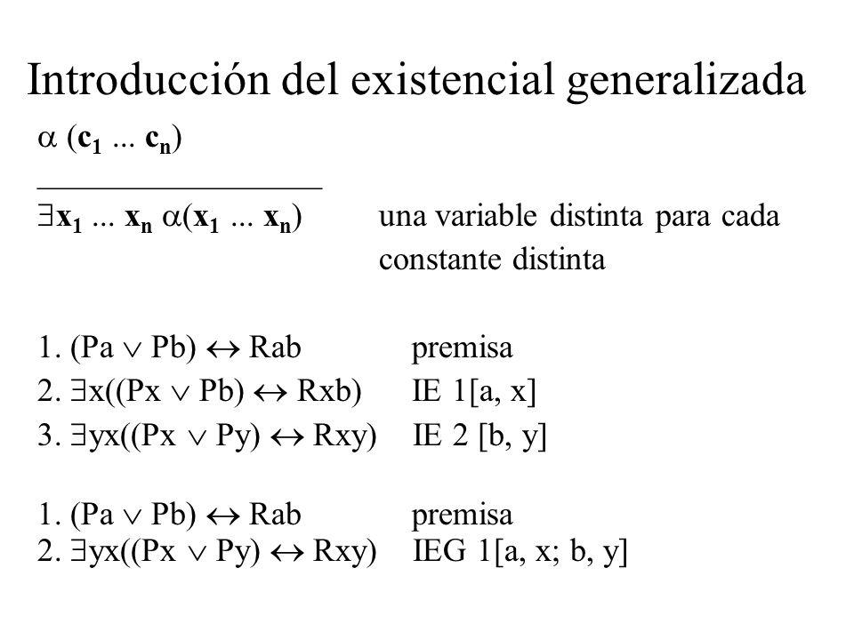 Introducción del existencial generalizada