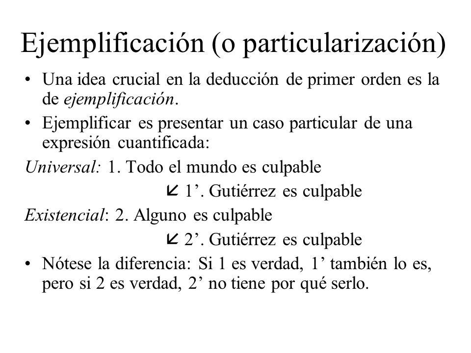 Ejemplificación (o particularización)