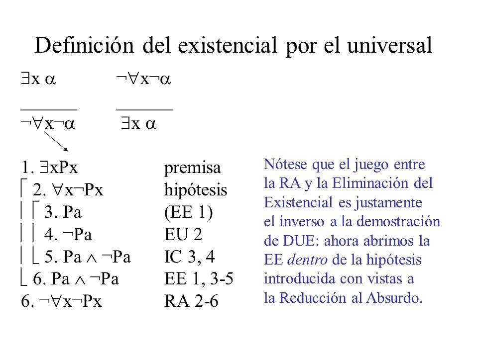 Definición del existencial por el universal