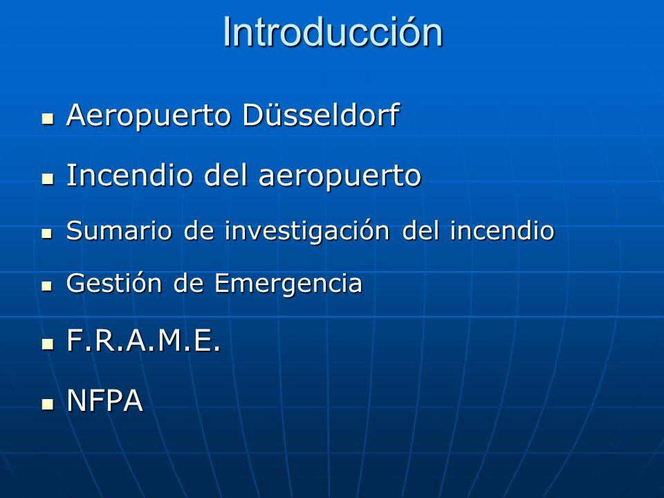 Introducción Aeropuerto Düsseldorf Incendio del aeropuerto F.R.A.M.E.