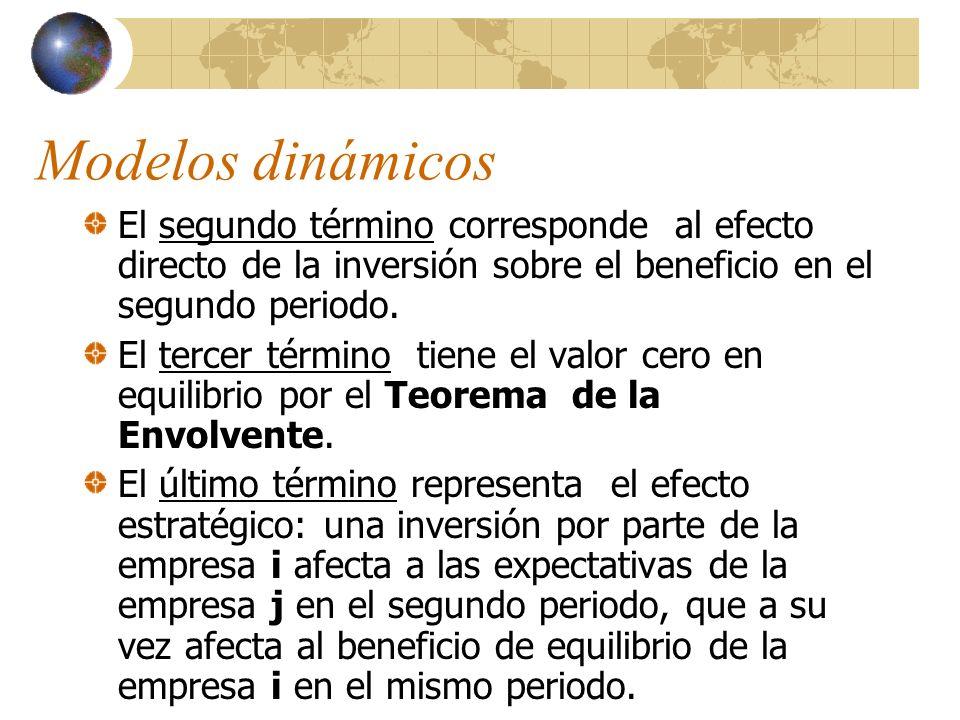 Modelos dinámicos El segundo término corresponde al efecto directo de la inversión sobre el beneficio en el segundo periodo.