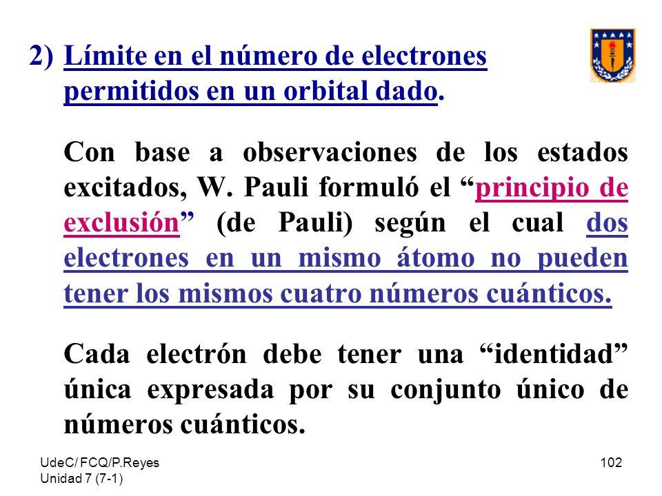 Límite en el número de electrones permitidos en un orbital dado.