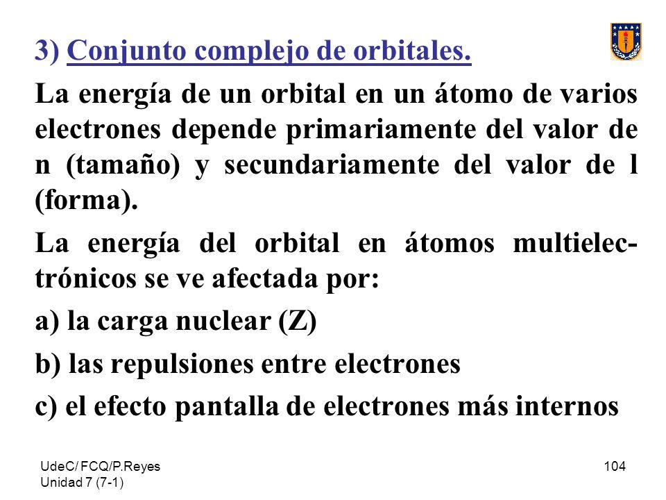 3) Conjunto complejo de orbitales.