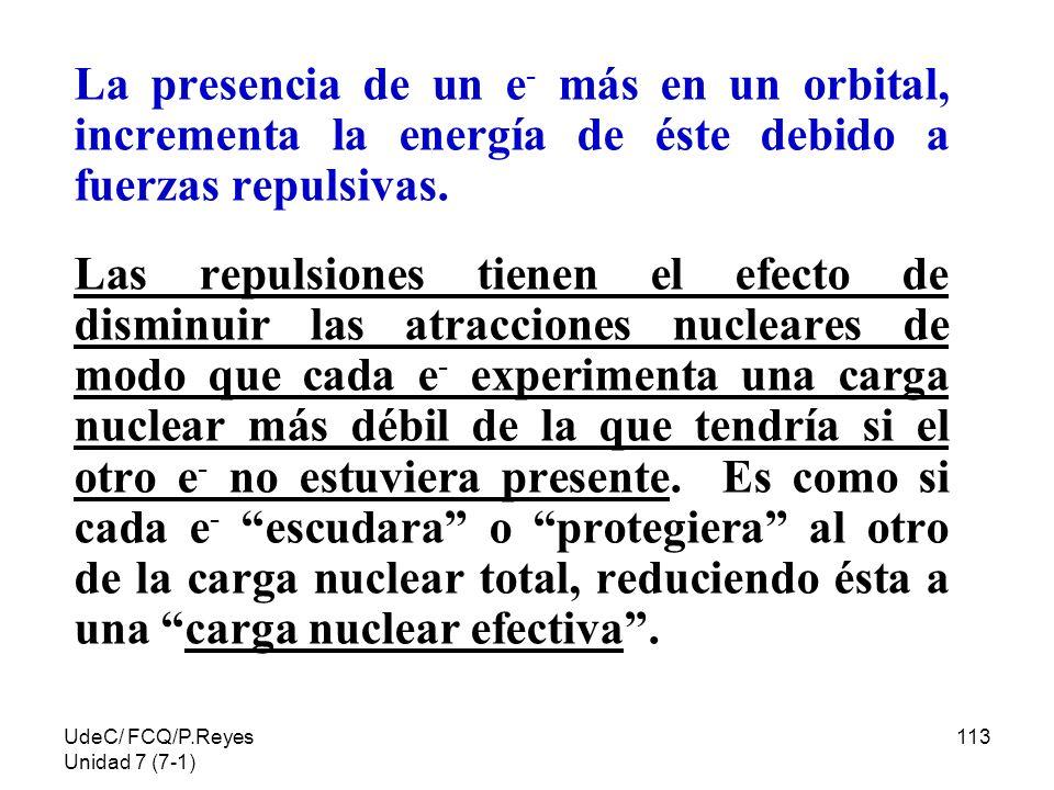 La presencia de un e- más en un orbital, incrementa la energía de éste debido a fuerzas repulsivas.
