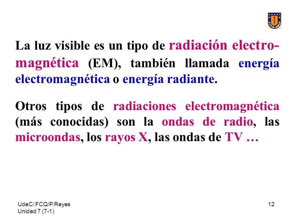 La luz visible es un tipo de radiación electro-magnética (EM), también llamada energía electromagnética o energía radiante.