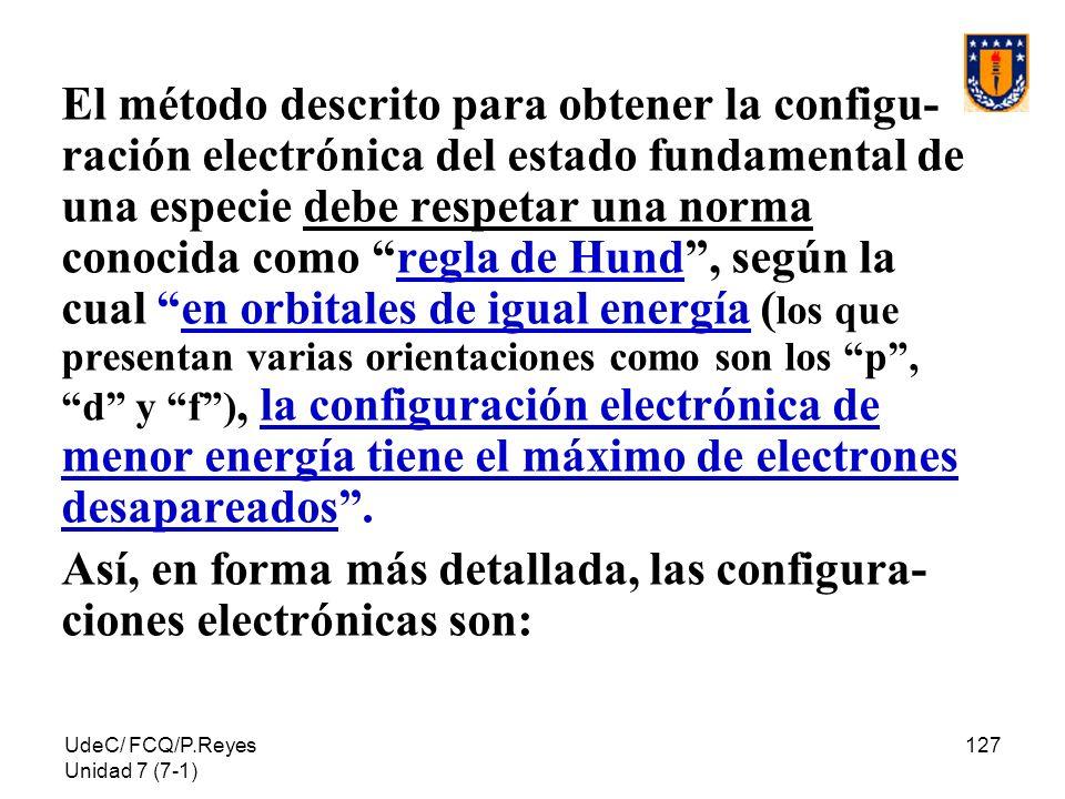 Así, en forma más detallada, las configura-ciones electrónicas son:
