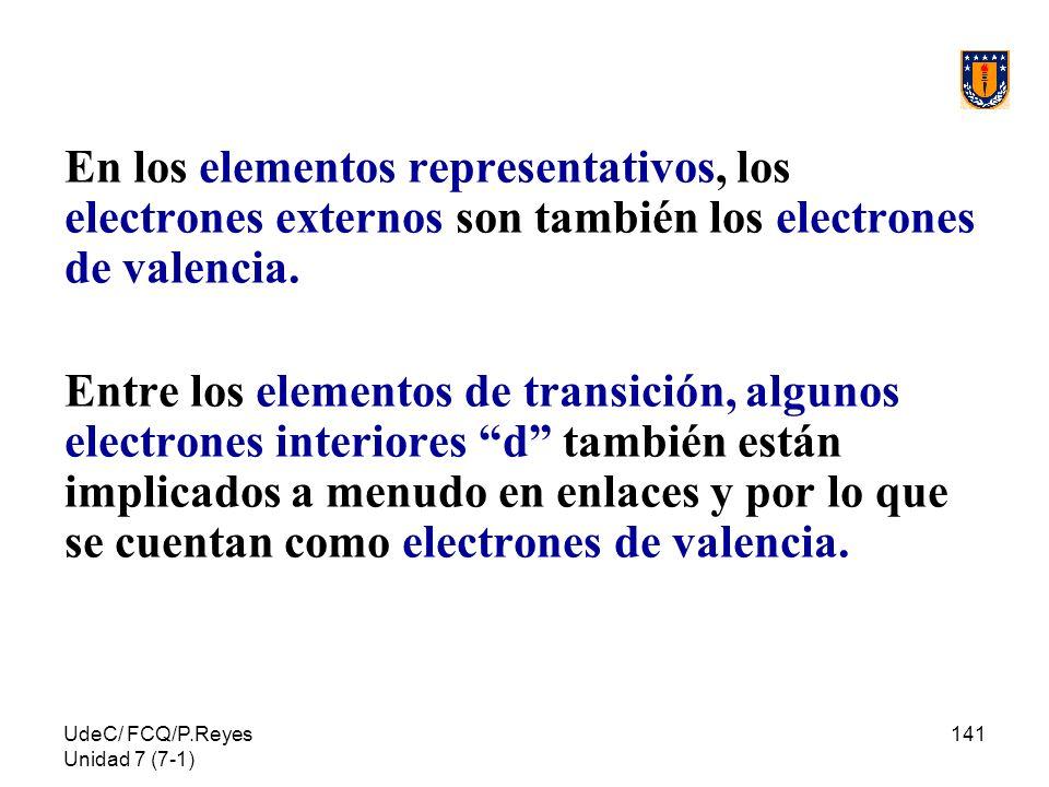En los elementos representativos, los electrones externos son también los electrones de valencia.