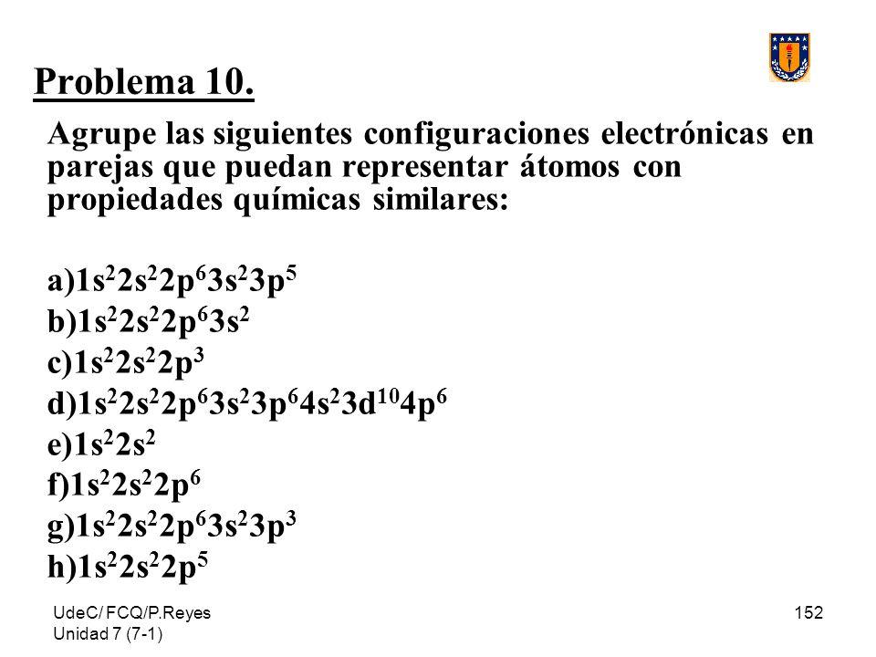Problema 10. Agrupe las siguientes configuraciones electrónicas en parejas que puedan representar átomos con propiedades químicas similares: