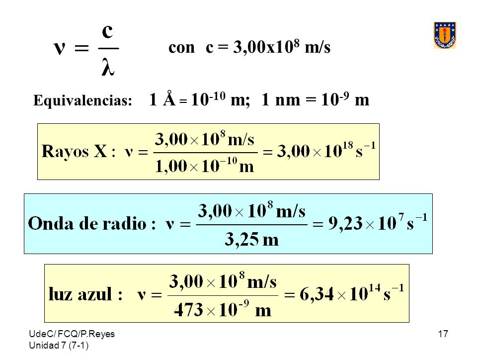 con c = 3,00x108 m/s Equivalencias: 1 Å = 10-10 m; 1 nm = 10-9 m