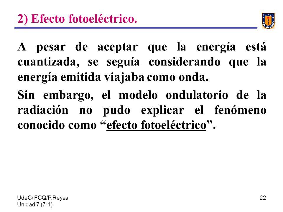 2) Efecto fotoeléctrico.