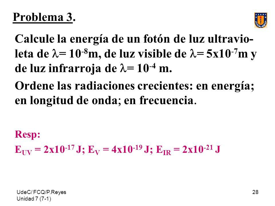 Problema 3.Calcule la energía de un fotón de luz ultravio-leta de l= 10-8m, de luz visible de l= 5x10-7m y de luz infrarroja de l= 10-4 m.