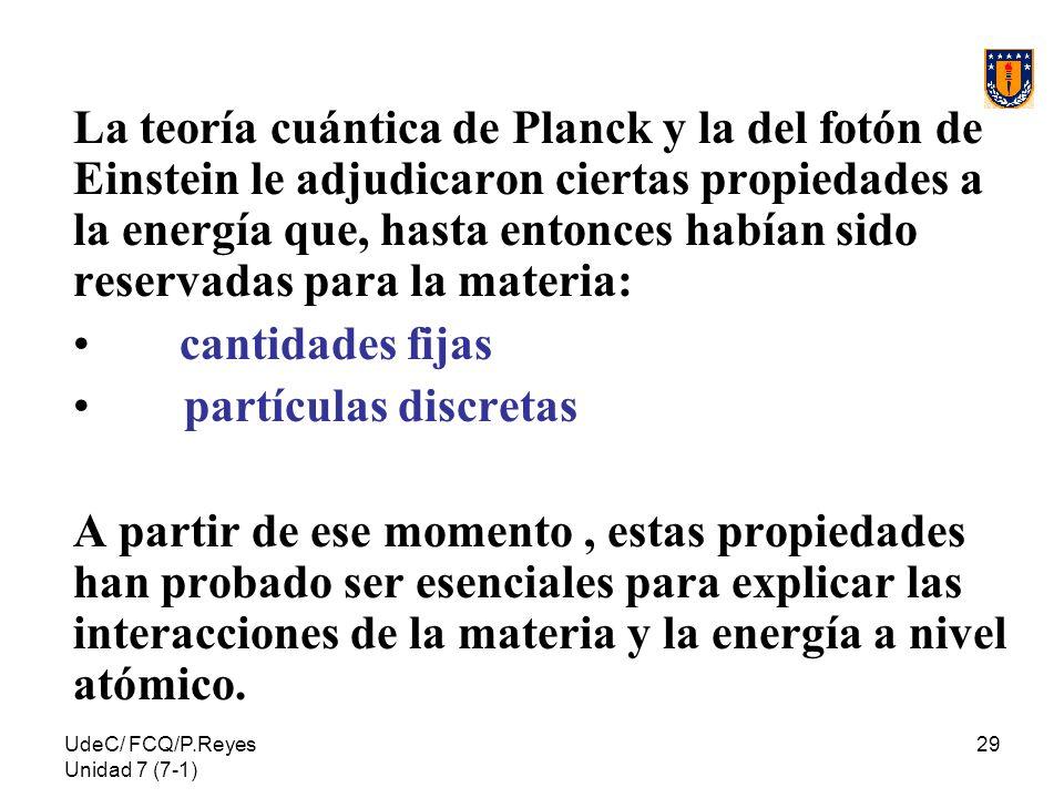 La teoría cuántica de Planck y la del fotón de Einstein le adjudicaron ciertas propiedades a la energía que, hasta entonces habían sido reservadas para la materia: