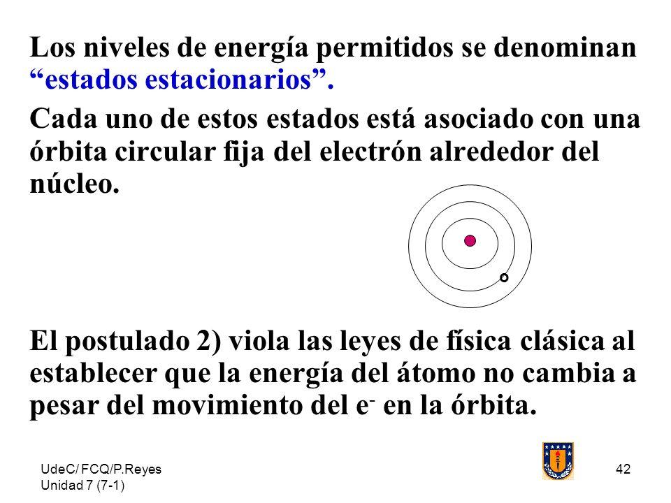 Los niveles de energía permitidos se denominan estados estacionarios .