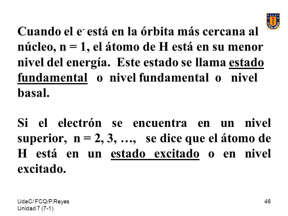 Cuando el e- está en la órbita más cercana al núcleo, n = 1, el átomo de H está en su menor nivel del energía. Este estado se llama estado fundamental o nivel fundamental o nivel basal.