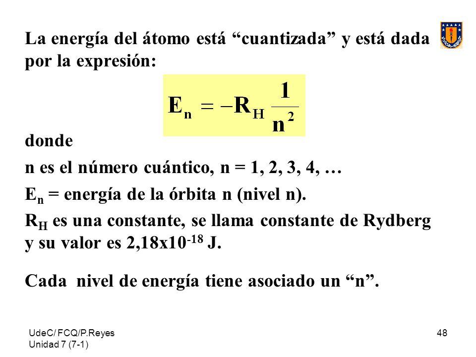 La energía del átomo está cuantizada y está dada por la expresión: