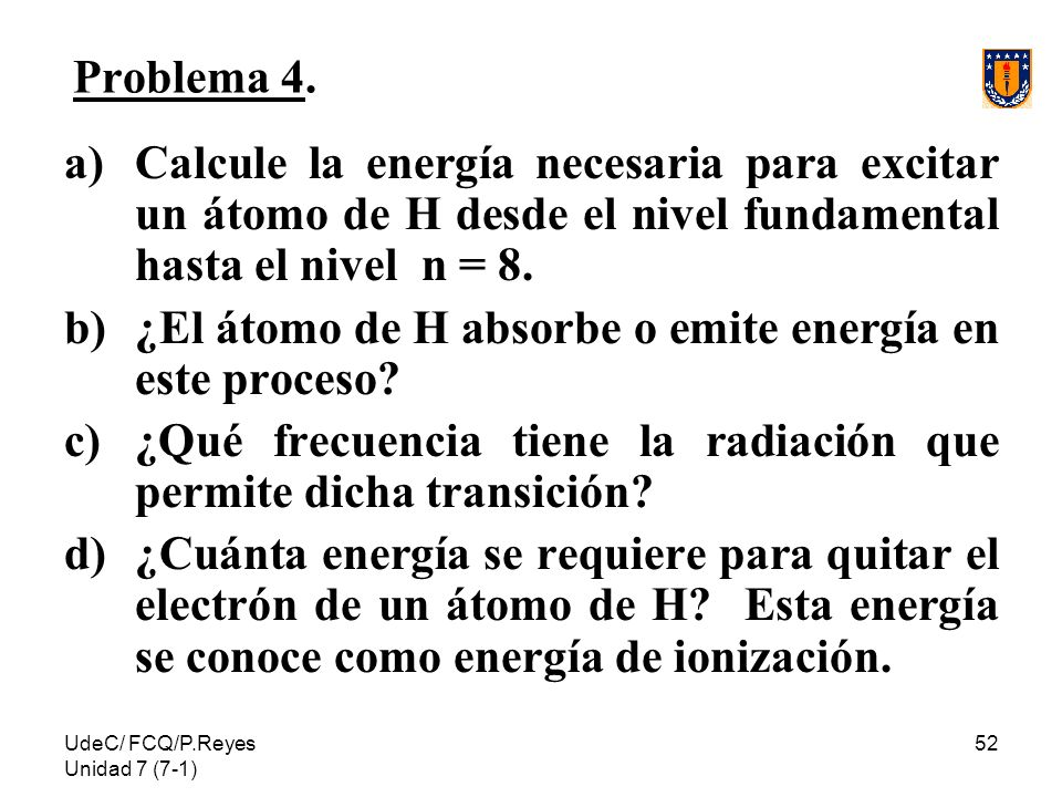 ¿El átomo de H absorbe o emite energía en este proceso