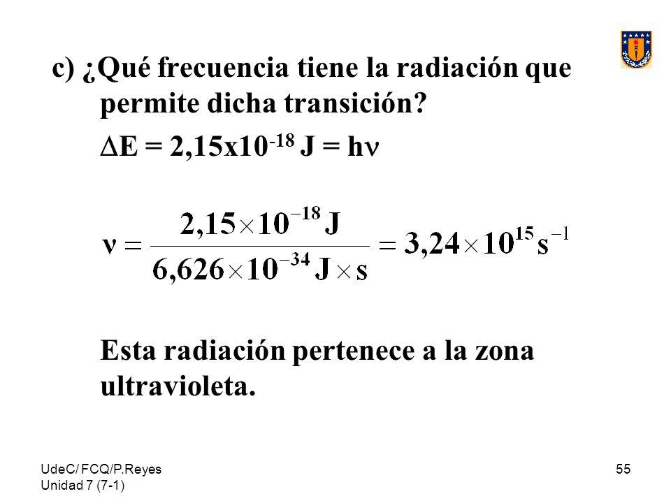 c) ¿Qué frecuencia tiene la radiación que permite dicha transición