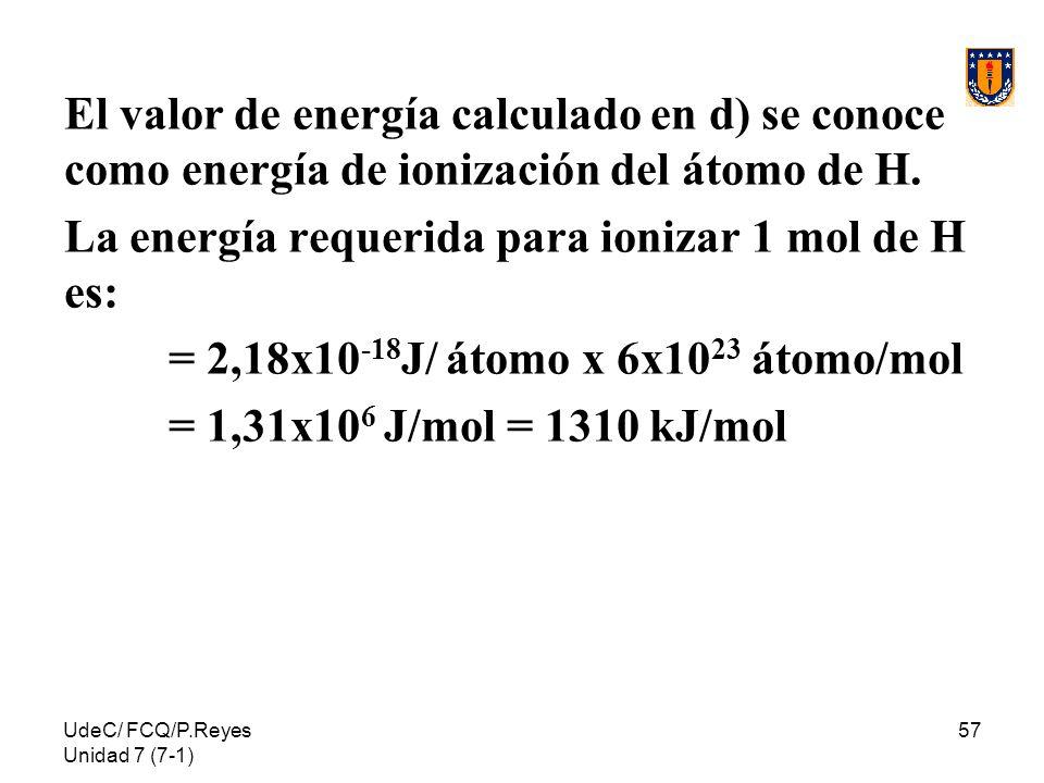 La energía requerida para ionizar 1 mol de H es: