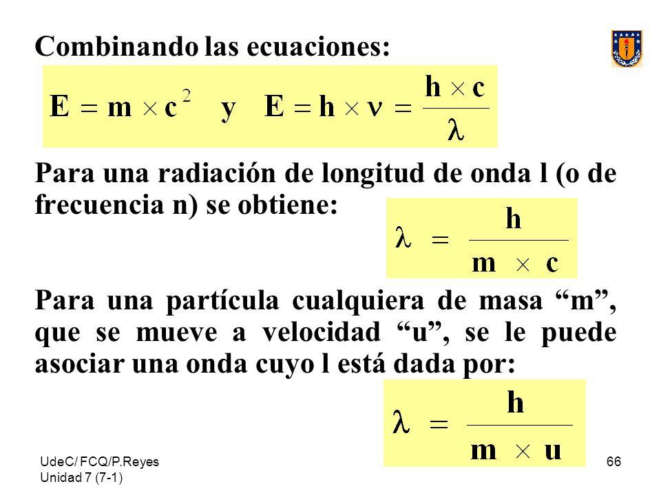 Combinando las ecuaciones: