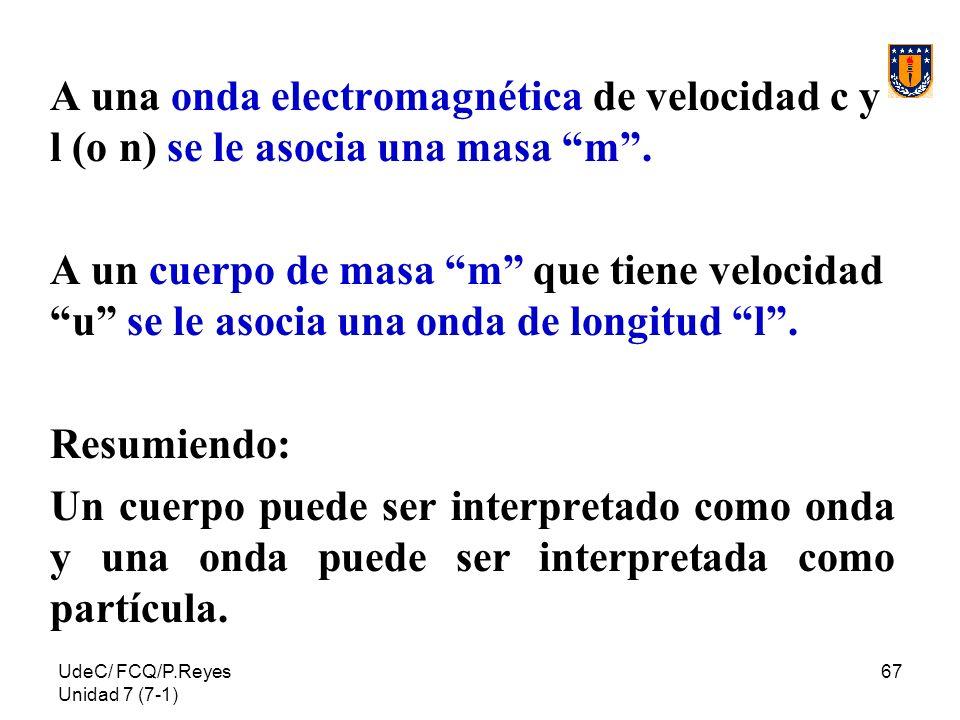 A una onda electromagnética de velocidad c y l (o n) se le asocia una masa m .