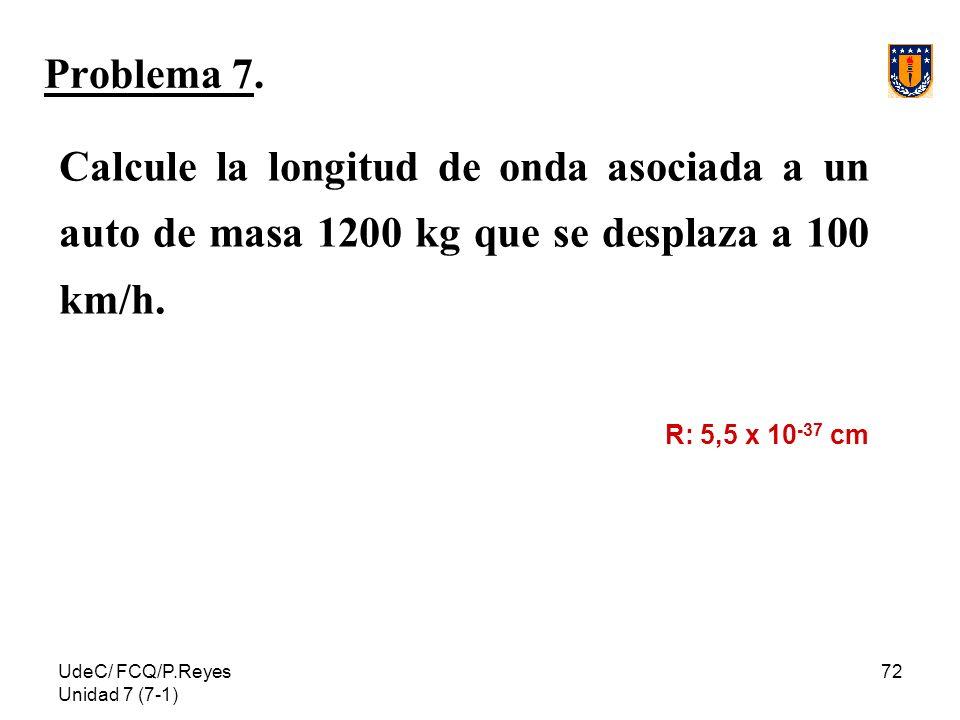 Problema 7. Calcule la longitud de onda asociada a un auto de masa 1200 kg que se desplaza a 100 km/h.