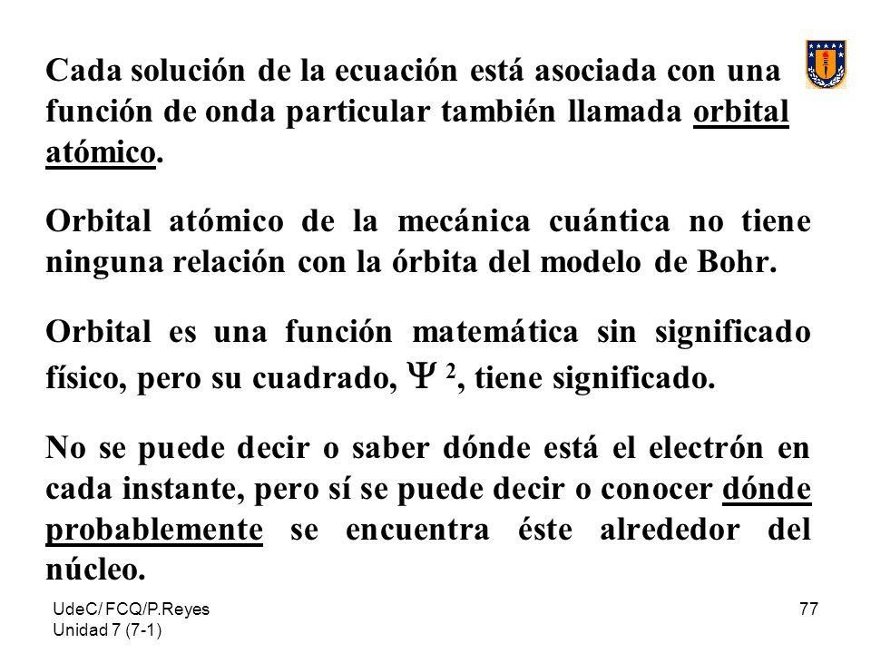 Cada solución de la ecuación está asociada con una función de onda particular también llamada orbital atómico.