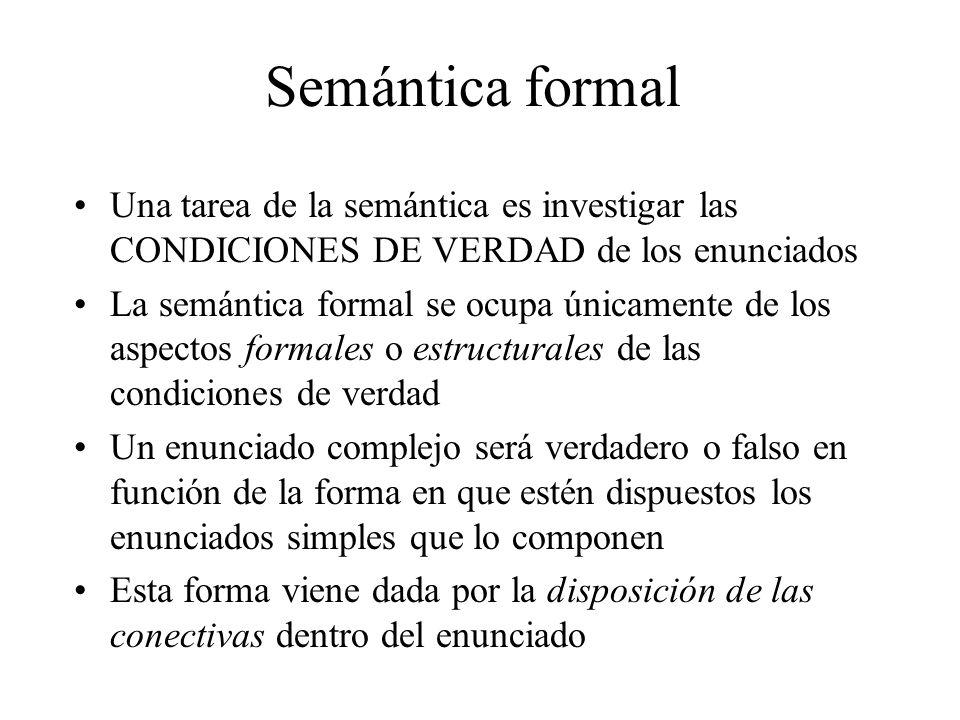 Semántica formal Una tarea de la semántica es investigar las CONDICIONES DE VERDAD de los enunciados.