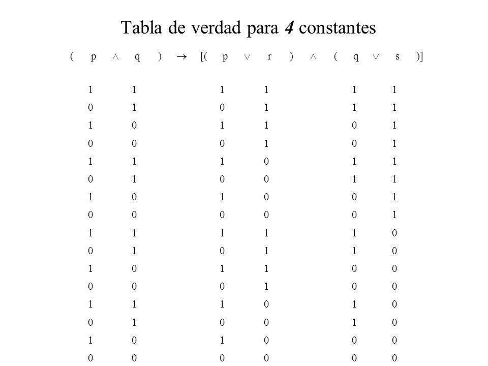 Tabla de verdad para 4 constantes
