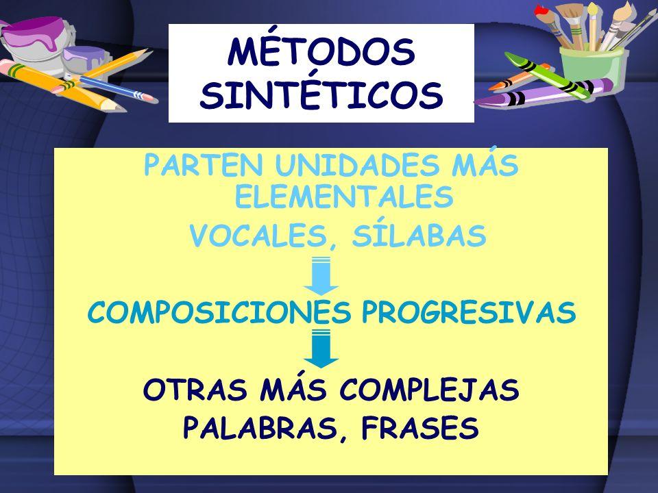 PARTEN UNIDADES MÁS ELEMENTALES COMPOSICIONES PROGRESIVAS