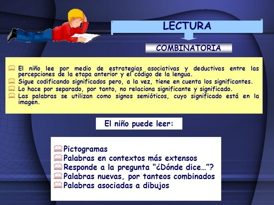 LECTURA COMBINATORIA El niño puede leer: Pictogramas