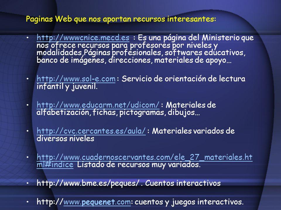 Paginas Web que nos aportan recursos interesantes: