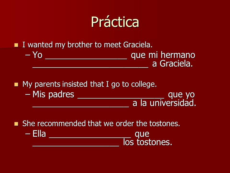 PrácticaI wanted my brother to meet Graciela. Yo _________________ que mi hermano ________________________ a Graciela.