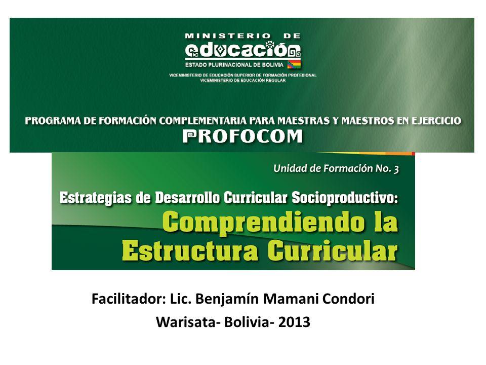 Facilitador Lic Benjamín Mamani Condori Warisata Bolivia 2013