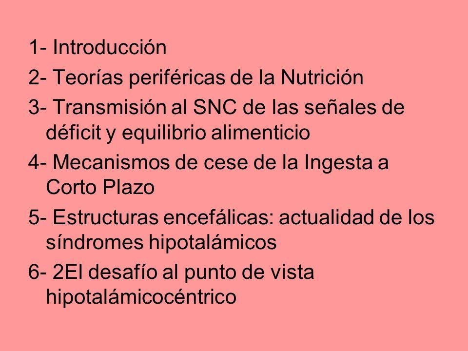 1- Introducción 2- Teorías periféricas de la Nutrición. 3- Transmisión al SNC de las señales de déficit y equilibrio alimenticio.
