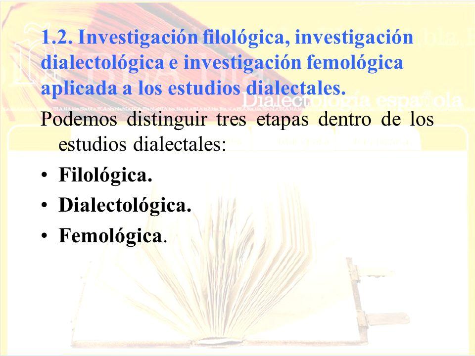 1.2. Investigación filológica, investigación dialectológica e investigación femológica aplicada a los estudios dialectales.