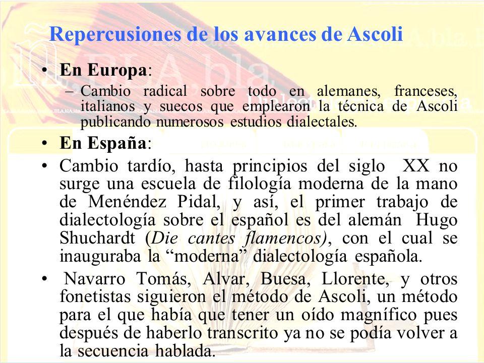Repercusiones de los avances de Ascoli